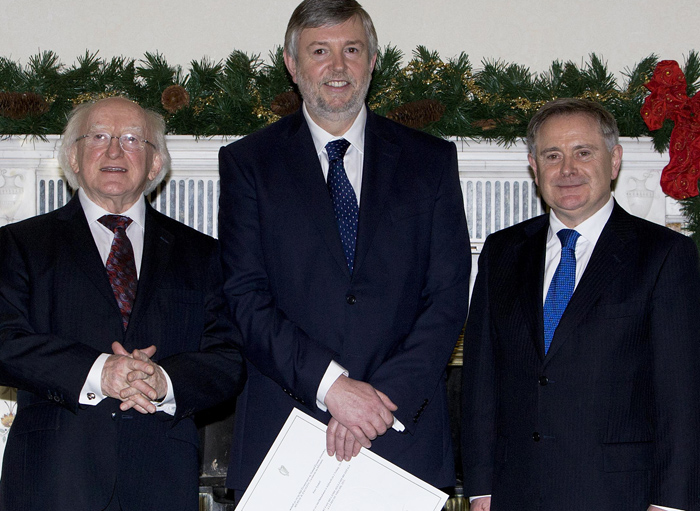 Peter Tyerall with President Micheal D Higgins and Minister Howlin
