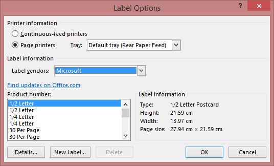 MS WORD Label Options
